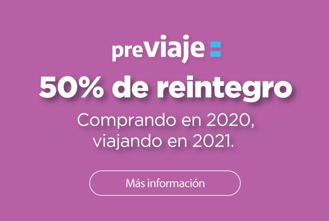 ¡50% de reintegro en pasajes con Previaje!