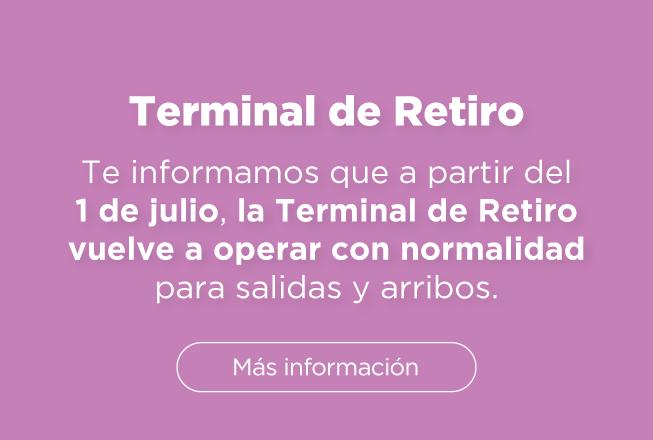 A partir del 1 de julio la Terminal de Retiro vuelve a operar con normalidad.